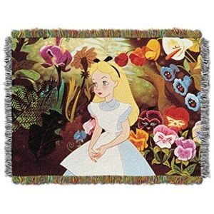 Alice in Wonderland Woven Tapestry Fringe Blanket